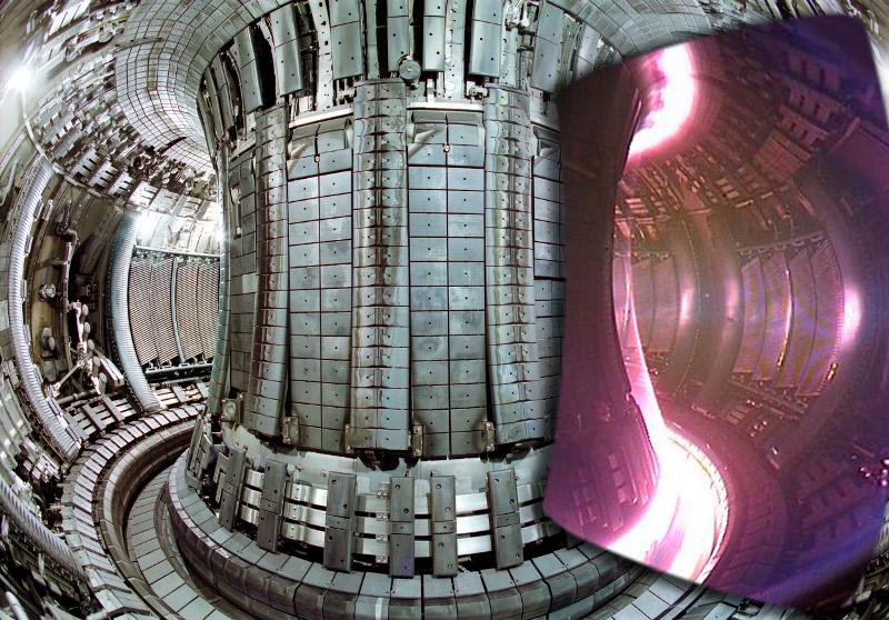 Το εσωτερικό του τόκαμακ του Joint European Torus (JET) με ένα ένθετο στιγμιότυπο του πλάσματος κατά τη λειτουργία του αντιδραστήρα. Ο συντελεστής πολλαπλασιασμού ισχύος του JET είναι μόλις Q=0,64 (αρνητική) ενώ του ITER προβλέπεται να είναι 10.