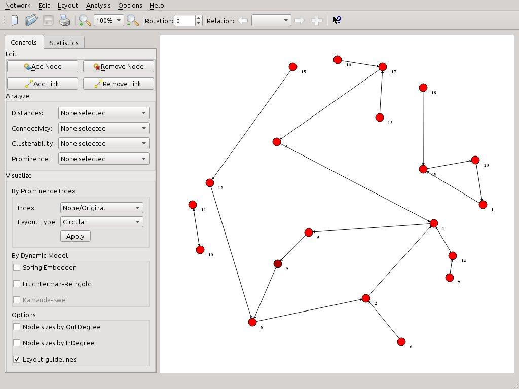 SocNetV v1.4: 20-kids-classroom-social-network-friendship